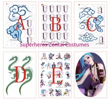 LOL jinx Body Art Tattoo for Halloween Jinx Cosplay Costume Custom Game Anime Cosplay Tattoo Sticker(China)