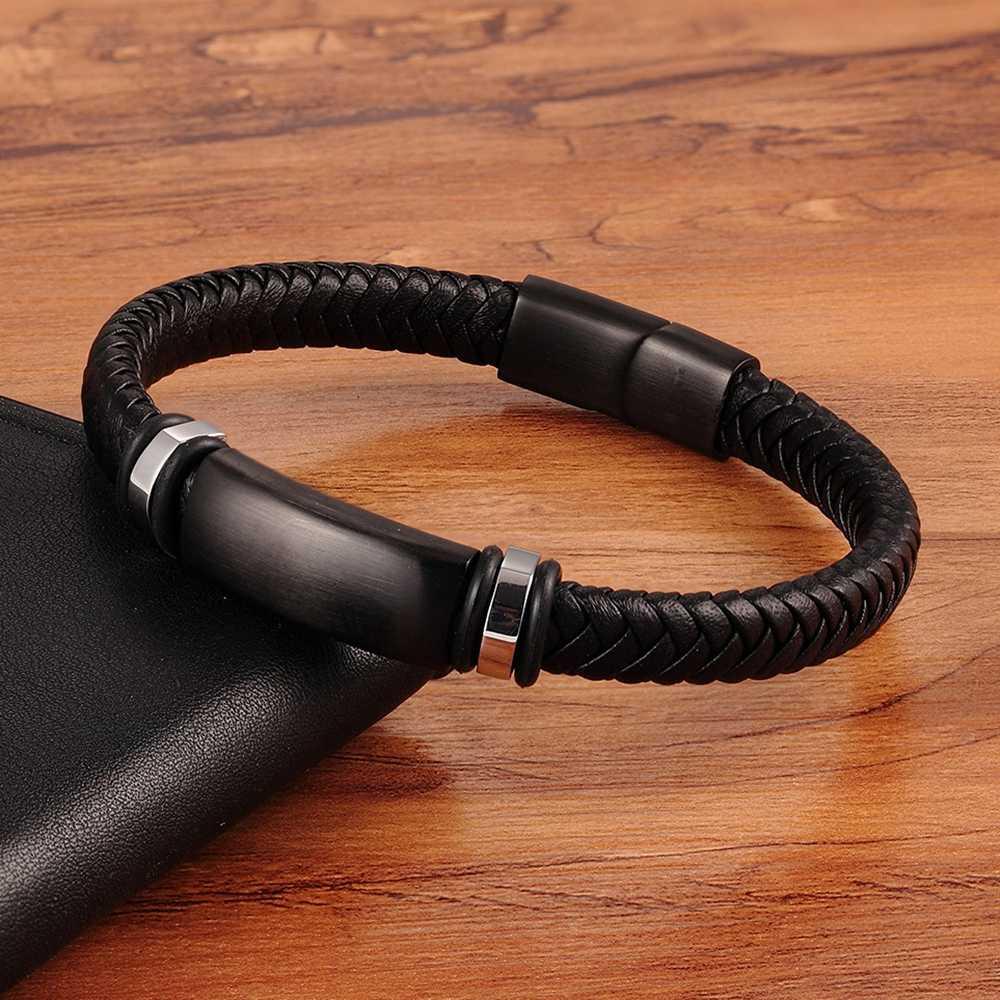 TYO カスタムステンレス鋼黒マットメタルチャーム男性の手作り編組リアル皮ボーイフレンドブレスレット磁気クラスプ