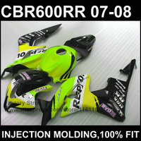 Hot sale right green fairing set Injection molding for HONDA CBR 600 RR fairings 2007 2008 motobike fairing cbr600rr 07 08