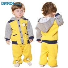 Soft Active Solid Baby Boy Girl Hoodies Sets Fleece Long Sleeve Stand Collar With Zipper Long Pants Children Sport Suit DR0186