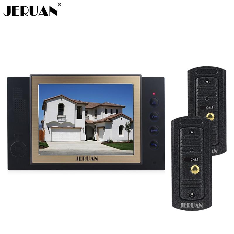 JERUAN 8``  video door phone Record intercom system 1 monitor 2 outdoor waterproof Pinhole camera FREE SHIPPING