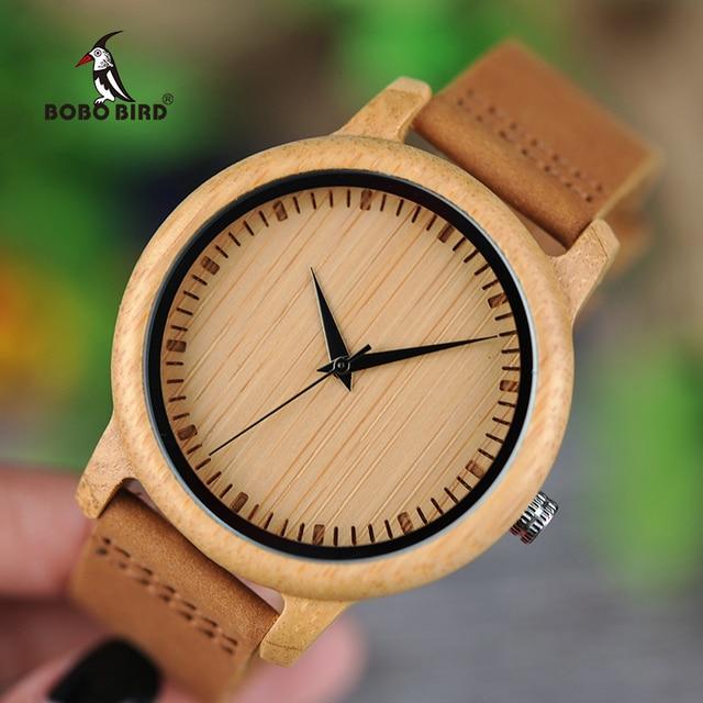 BOBO BIRD Original Wooden Mens Womens Watches Eelegant Quartz Wristwatch Couple Watch Gift Box Brand Clock Hours reloj hombre
