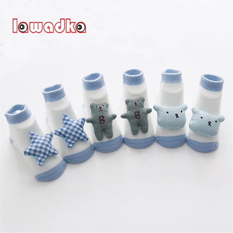 Lawadka 3Pairs/lot Cartoon Baby Socks Newborn Cotton Boys Girls Sock Cute Toddler Socks Size SandM