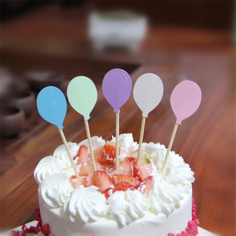 5pcs wholesale cake decorated with small balloons toothpick and flag card paper cup cake birthday party decoration.