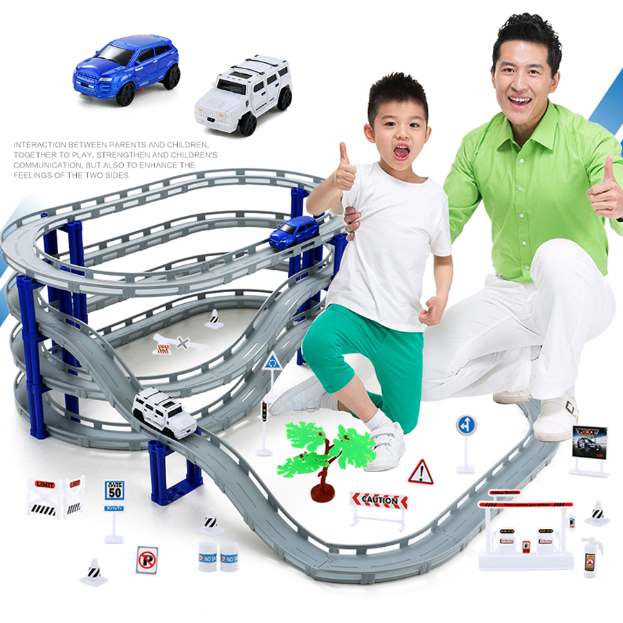DIY Electric Train Track Car Racing Track Toy,Multi-layer Spiral Track Roller Coaster Railway Transportation Building Slot Sets image