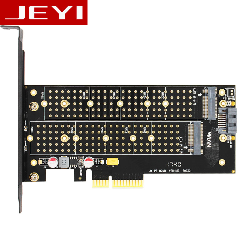 JEYI SK7 M.2 NVMe SSD NGFF TO PCI-E X4 adapter M Key B KEY Dual interface card Suppor PCI Express3.0 Dual voltage 12v+3.3v SATA3