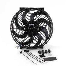 Универсальный Масляный кулер для автомобиля, 14 дюймов, 12 в пост. Тока, 90 Вт, вытяжной и нажимной изгиб, черное лезвие, Электрический охлаждающий вентилятор радиатора для автомобиля, багги