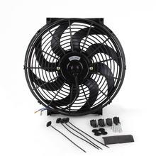 Enfriador de aceite de agua de coche Universal de 14 pulgadas DC12V 90W curva de tracción y empuje hoja negra ventilador de radiador de refrigeración eléctrica para coche Kart Buggy