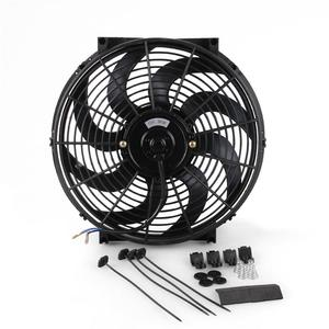 Image 1 - Universal 14 Inch  Car Water Oil Cooler DC12V 90W Pull & Push bend Black Blade Electric Cooling Radiator Fan For Car Kart Buggy