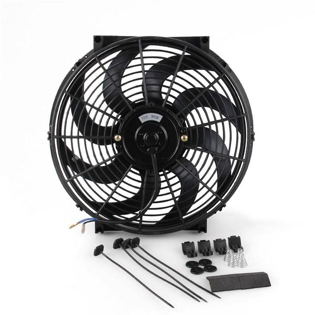 Universal 14 Inch  Car Water Oil Cooler DC12V 90W Pull & Push bend Black Blade Electric Cooling Radiator Fan For Car Kart Buggy
