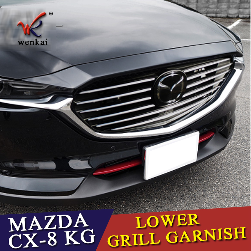 For <font><b>Mazda</b></font> <font><b>CX</b></font>-8 KG CX8 <font><b>2017</b></font> <font><b>2018</b></font> Refit Front Hood Billet Grille Chrome Grill Car Stickers Car Styling <font><b>Accessory</b></font> image