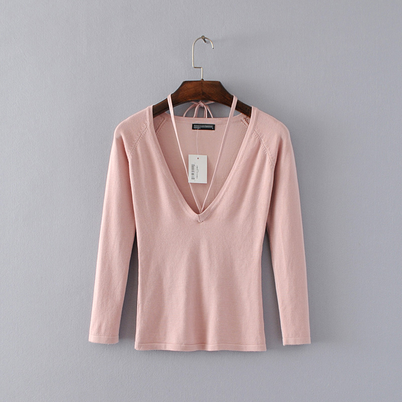 Women V-neck Knit Jumper with string halter Long Sleeve Sexy Knit Pullovers
