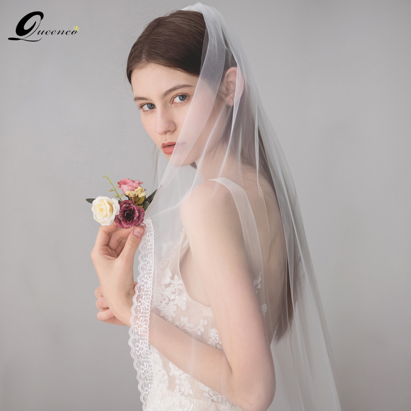 Ivory Wedding Veils Fingertip Veil  Bridal Lace Edge Veil With Comb Long Bridal Hair Accessories Bride Mantilla Wedding Veil