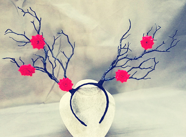 Vintage Artificial Tree Branches Headband Props Staghorns Flower Hair Accessory Gothic