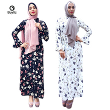 цены на Buytiz Long Robe Gowns Black White Floral Print UAE Casual Muslim Abaya Maxi Kimono Ramadan Arabic Dubai Caftan Islamic Clothing  в интернет-магазинах