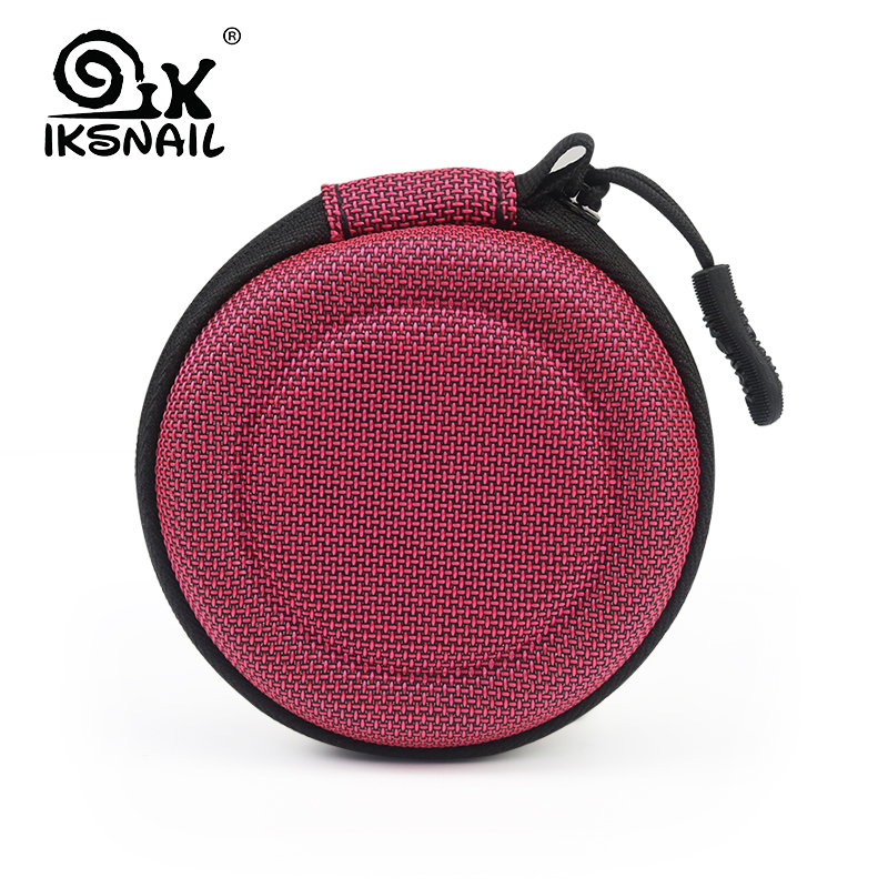 IKSNAIL Portable Case For Headphones Case Mini Zippered Round Storage Hard Bag Headset Box For Earphone SD Cards Charging Cable portable pp1440 cd zippered bag black page 6