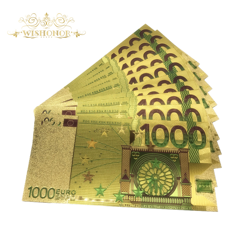 10pcs lot Colored Euro Banknotes 1000 EUR Gold Banknotes in 24K Gold Plated Fake Paper Money for Collection in Gold Banknotes from Home Garden