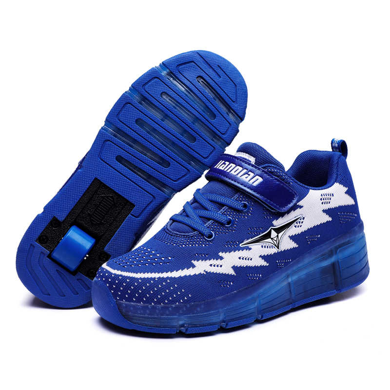 Children Heelys LED Light Sneakers Two Wheel Boys Girls Roller Skate Casual with Roller Kids Girl Sport Shoes USB Charging Blue
