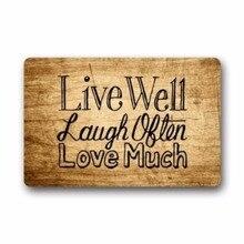 Custom Welcome Vintage Wood Pattern With Live Laugh Love Rectangle Entryways Decorative Doormat Indoor/Outdoor 23.6&quo