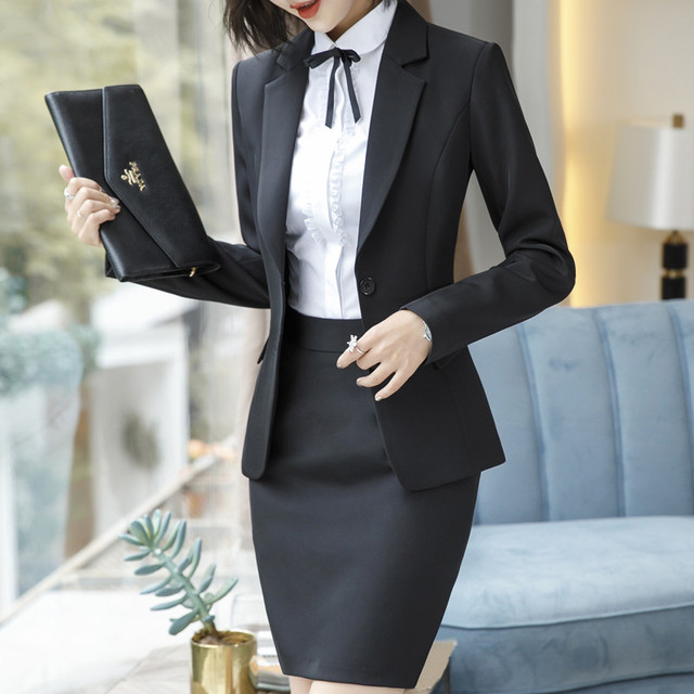 b7a5bc1623 2019 Formal Skirt Suits Women Business Work Jacket Trousers Set Fashion  Casual Blazer Office Lady Female