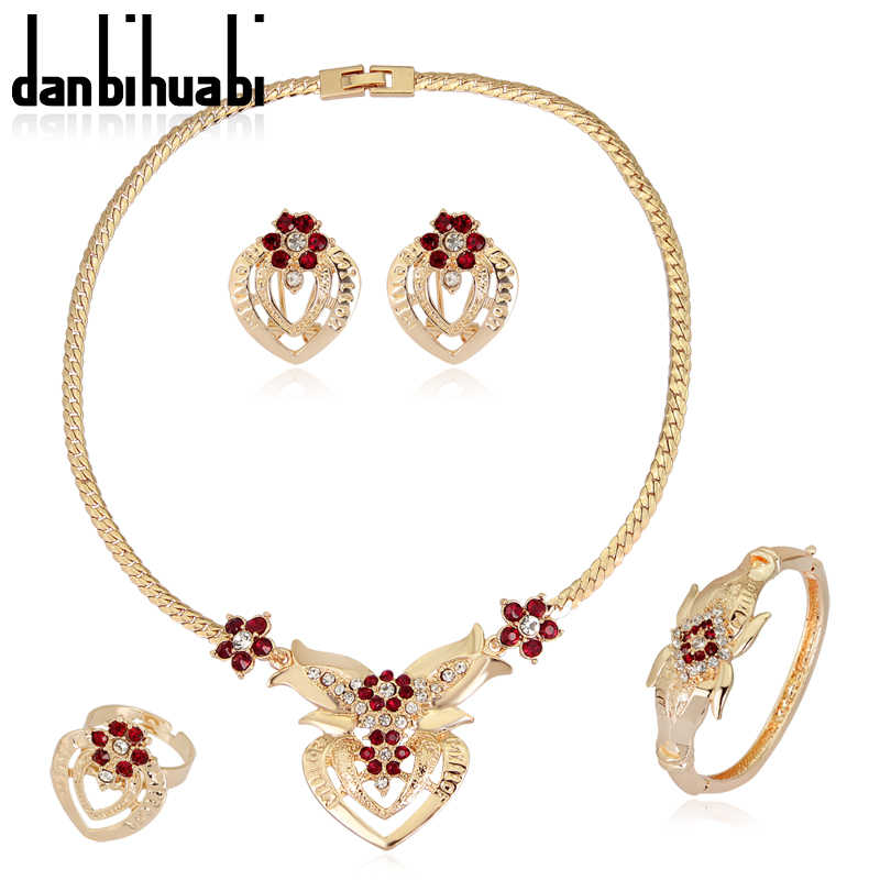 2018 Ethiopian Jewelry Earrings and Necklace Rhinestone African Costume Jewelry Sets Fashion Women's Earrings Indian Jewelry