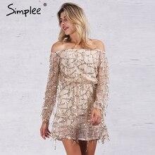 Simplee Apparel Sexy с плеча блесток кисточкой лето dress 2016 beach party short dress Женщины спинки vintage dress vestidos(China (Mainland))