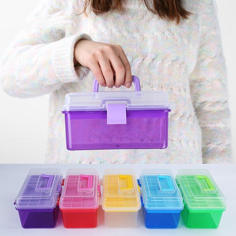 جعبه ابزار تصادفی رنگی 1 قطعه ، جعبه ابزار خانگی ، جعبه ذخیره سازی شفاف دو لایه