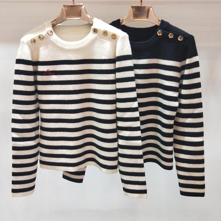 2018 invierno grueso manga larga mangas negro y blanco rayas hombro botones suéter H112-in Pulóveres from Ropa de mujer    1