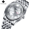 FOTINA Top Brand WWOOR Watch Men Day Date Stainless Steel Relojes Dress Men Clock Quartz Sport Luminous Watch Relogios Masculino
