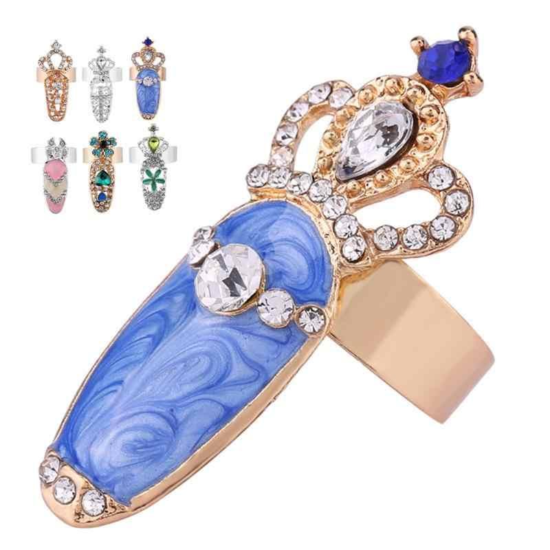 ใหม่ 7 ประเภท Bowknot คริสตัล Finger Nail Art แหวนเกราะทองแหวนหางร่วมเครื่องประดับสำหรับงานปาร์ตี้ตกแต่งเล็บอุปกรณ์เสริม