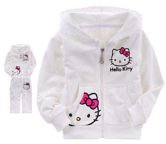New Autumn Baby Kids Set Cotton Hello Kitty Coat Hoodies Pants Twinset Bebes Bebek Giyim Children Clothes Girl Boy Sets  Menino
