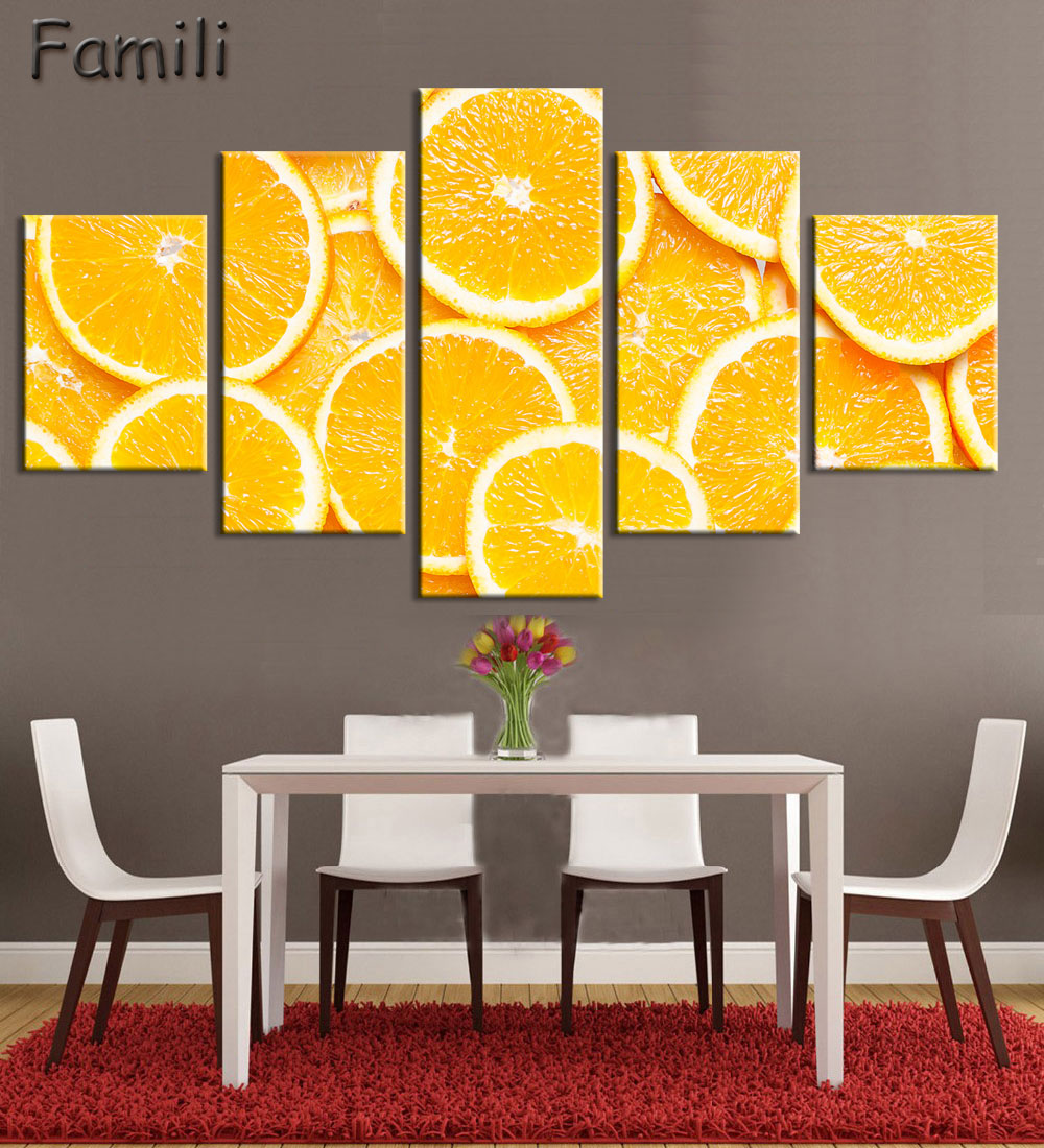 5Panels High Quality Frame Canvas Painting Kitchen Fruit