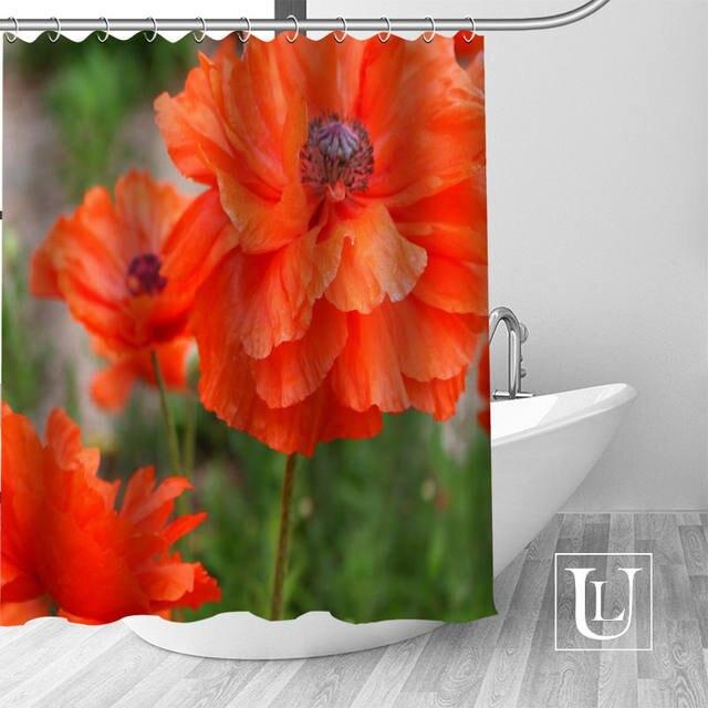 Online Shop Best Nice Custom Poppies Red Flowers Shower Curtain
