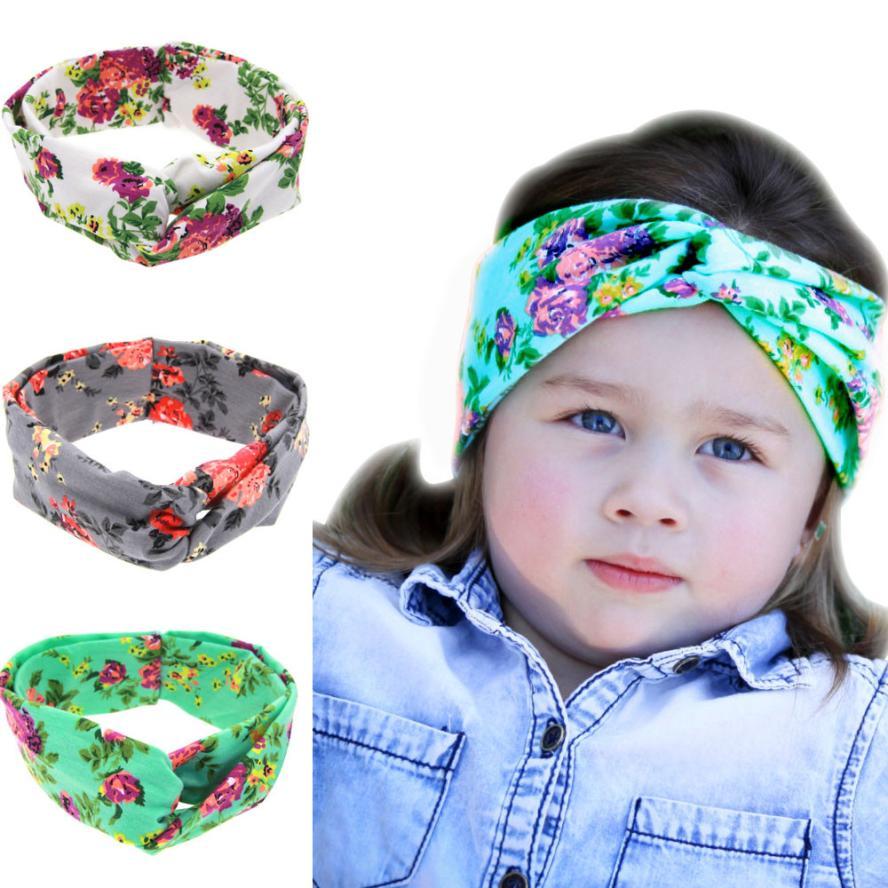 TELOTUNY 2018 Baby Printing Intersect Rabbit Ears Elastic Cloth Headband For Girls Headwear FEB15