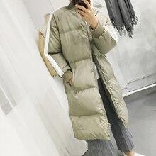 2016 зима цвет средней длины блока украшения хлопка-ватник женский свободно утолщение вниз ватные куртки верхняя одежда женский