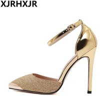 New 2017 Spring Autumn Women Pumps Sexy Gold Silver High Heels Shoes Fashion Luxury Rhinestone Wedding