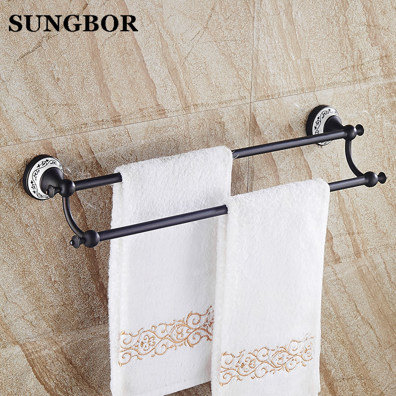 Bathroom Accessory Black Oil Rubbed Brass Ceramic Flower Wall Mounted Bathroom Double Towel Bar Towel Rack Towel Rails SY-4811H classic black oil rubbed brass wall mounted bathroom towel rack shelf rails double bar wba120