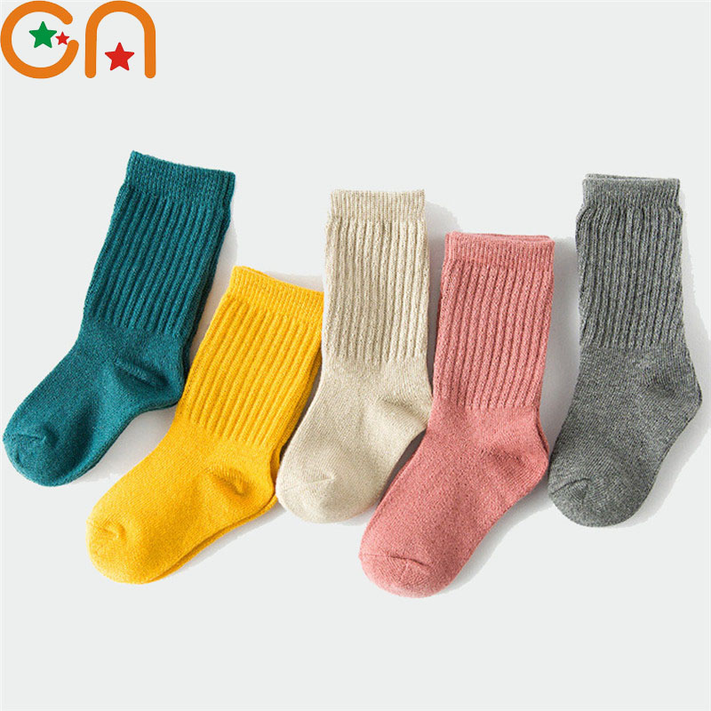 1-10 Yrs Boys Girls Fashion Cotton Socks Baby Cute Toddler Keep Warm Socks Children Solid Sports Socks New Year Kids Clothing CN