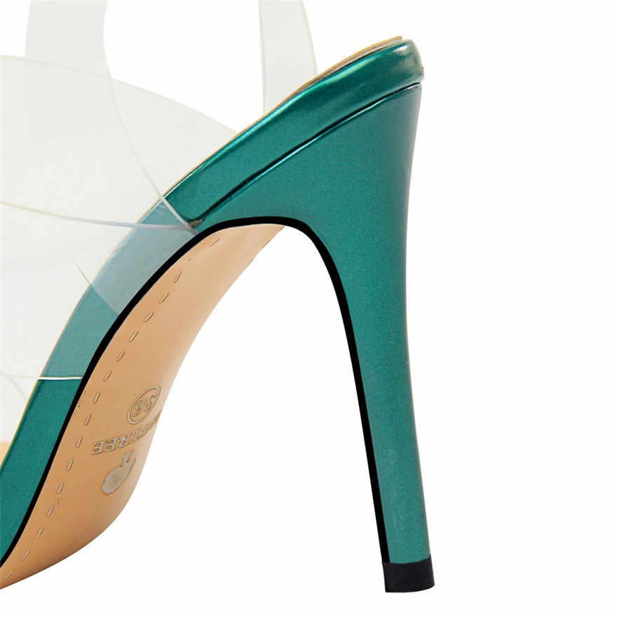 53c3a03eb5 ... 2019 Summer Transparent PU Back Strap Women's Sandals Korean Open Toe  Concise High Heels Shoes Platform