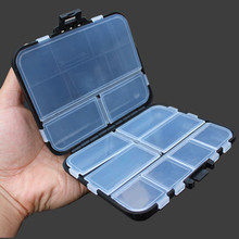 Mini Black Fishing Accessories Container Box Multiple Compartments Fishing Tackle Box for Fishing Lures Hooks Connectors Tools