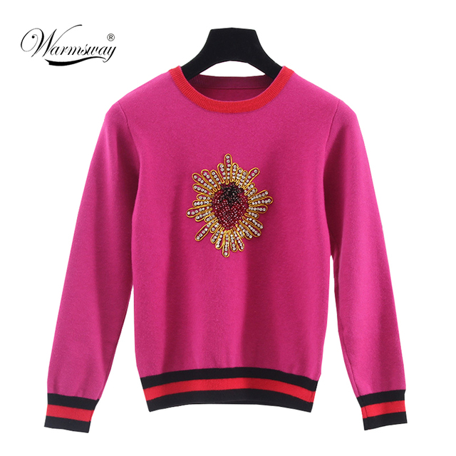 Retro fall winter new sweater hand-made Diamonds Beading Strawberry pattern Knitted pullover WS-017