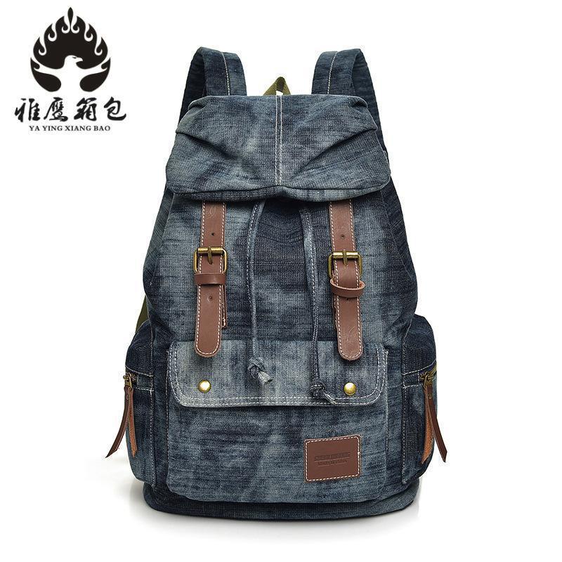 Boys Girls Unisex Vintage Washed Denim Jean Rucksack Shoulder School Bag Travel Matching Backpack