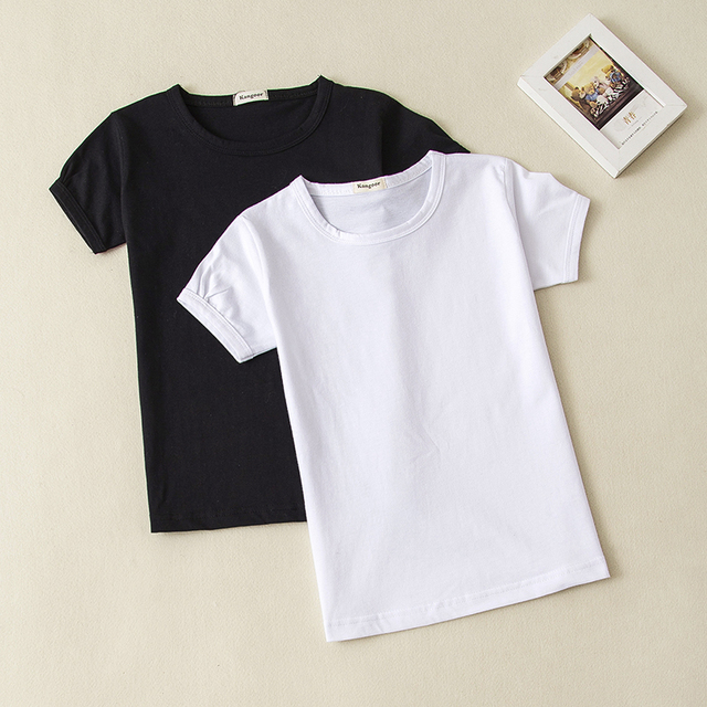 2faa19c1 2018 Summer Girls Solid Color Short-Sleeve Tshirts Kids T-Shirt Baby Child  Cotton