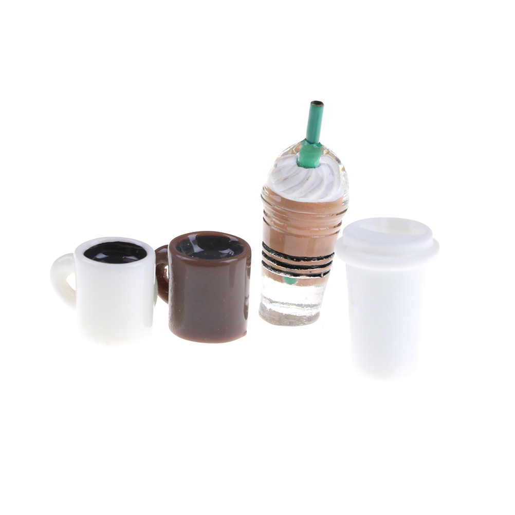 4Pcs/set DIY Miniature Dollhouse Coffee Cup Mini World Dolls Accessories  Kitchen Room Food Drink Cup For