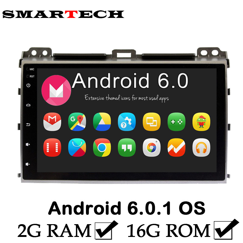 2Din Android 6 Car Intelligent Prado 9 Inch IPS Screen Car Radio GPS Navigation Player For Toyota Prado120 Landcruiser 2004 2010