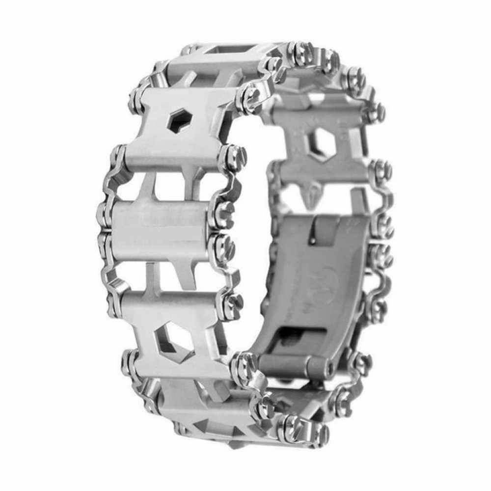 Multifunction Tread Bracelet Stainless Steel Outdoor Bolt Driver Tools Screwdriver Emergency Kit Travel Wearable Multitool 29 in 1 multi functions tools bracelets for mens stainless steel wear tread bracelets wearable screwdriver infinity war bracelet