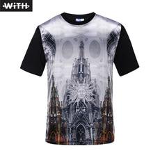 Moda 2016 Nuevo T Shirt 3d Novela Palacio Iglesia Impreso Animal Unisex Camiseta Del O-cuello de La Aptitud Camiseta Hombre CON YZ747