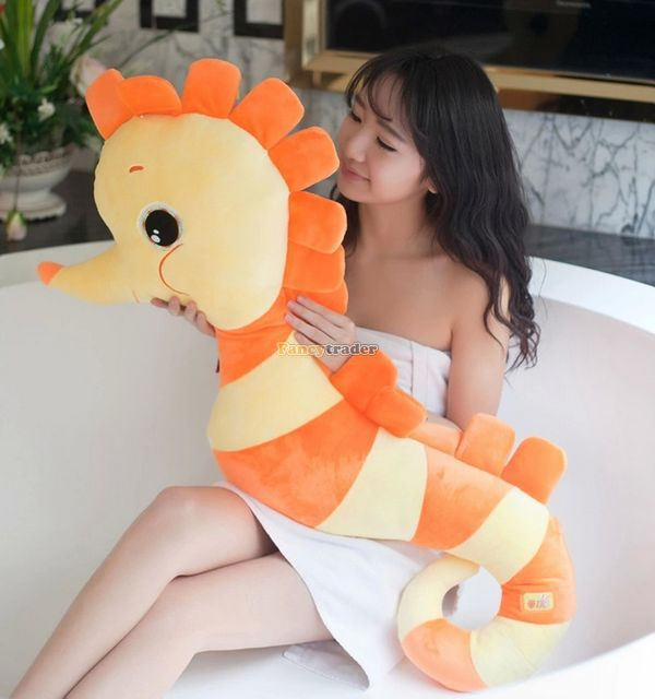 Fancytrader 39'' / 100cm Big Colorful Stuffed Lovely Plush Sea Horse Toy, 2 Colors Available! Nice Gift, Free Shipping FT50296 fancytrader 39 100cm lovely giant plush stuffed braces dressing pig toy best gift for kids girls free shipping ft50078