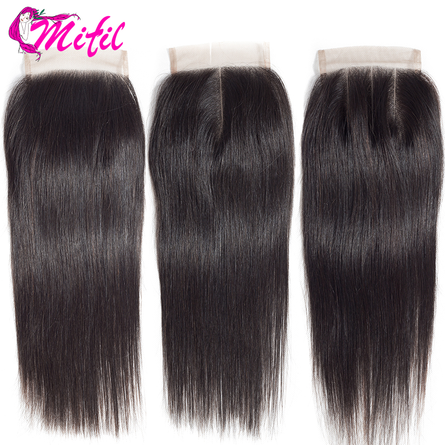 Mifil 4x4 Brazilian 130% Density 100% Human Hair Middle Three Part Straight Closure