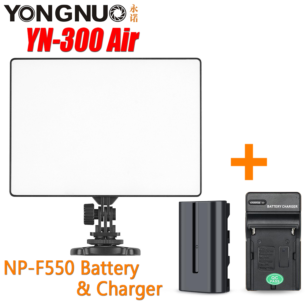 YONGNUO YN 300 YN300 Air Camera LED Light Panel On Video Camera 3200K 5500K color temperature Battery Charger for Canon Nikon
